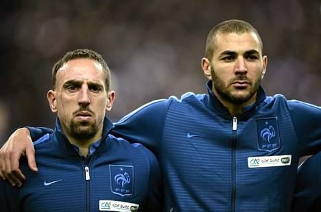 Franck Ribery ja Karim Benzema ovat vakiokasvoja Ranskan maajoukkueessa.