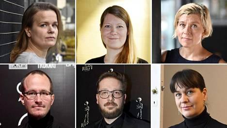 Mielipidekirjoituksen allekirjoittajiin kuuluvat muun muassa Selma Vilhunen (ylh.vas), Inari Niemi, Marja Pyykkö, Juho Kuosmanen (alh. vas.), AJ Annila sekä Saara Cantell.