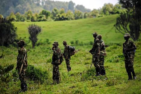M23-kapinalliset partioivat Kanyarucinyan alueella lähellä Goman kaupunkia maanantaina.