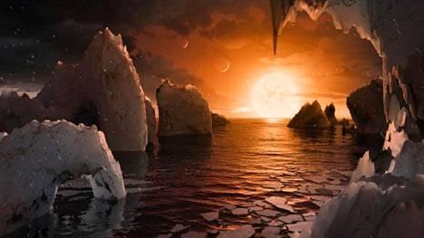 Taiteilijan näkemys yhdeltä maankaltaiselta eksoplaneetalta, joka kiertää Trappist-1 -tähteä.