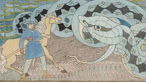 Joseph Alanen: Lemminkäinen ja suuri käärme, 1919–1920.
