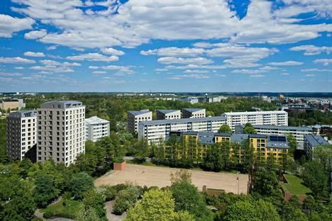 Helsingin Vallilaan rakennetaan uusia asuntoja. Asunnot sijoittuvat Vallilan puiston ympäristöön. Havainnekuva.