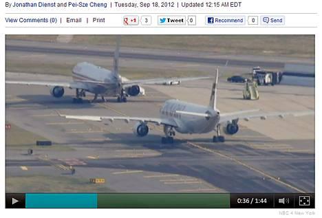 Lentokenttäviranomaiset ohjasivat koneet kentän syrjäiseen osaan tarkastettaviksi. Kuva on ruutukaappaus NBC New Yorkin verkkosivulta.