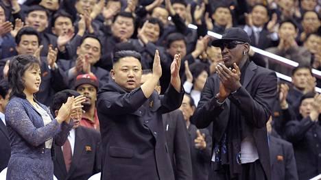 Kim Jong-un ja Dennis Rodman kuvattiin koripallo-ottelussa Pohjois-Koreassa vuonna 2013.