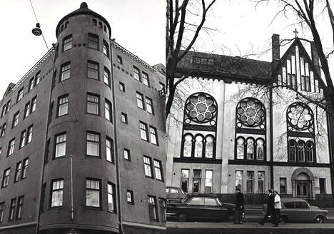 Perämiehenkadun puoleiset kaksi rakennusta ovat Riekon korttelin komeimmat. Asunto Oy Telakan talo jugendtorneineen (vas.) valmistui vuonna 1907 Punavuorenkadun kulmatontille. Sen viereen Merimiehenkadun puolelle oli jo kolme vuotta aikaisemmin kohonnut Kaupunkilähetyksen Betania-koti ja kirkko vapaaherra K. A. Wreden suunnittelemana. Nykyisin kaupungin hallussa olevassa rakennuksessa toimii mm. kirjasto.