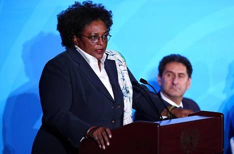 Barbadosin pääministeri Mia Mottley puhui YK:n ilmastokonferenssissa New Yorkissa syyskuussa 2019.