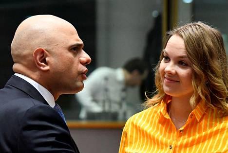 Valtiovarainministeri Katri Kulmuni (kesk) keskusteli Britannian sisäministerin Sajid Javidin kanssa Ecofinin-kokouksessa Brysselissä tammikuun lopussa.