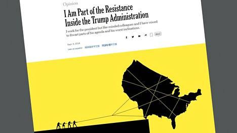 The New York Times julkaisi 5.9.2018 esseen, jossa Yhdysvaltain presidentin Donald Trumpin hallintoon kuuluva korkea virkamies kertoo Valkoisen talon tapahtumista. Ruutukaappaus lehden verkkosivuilta.