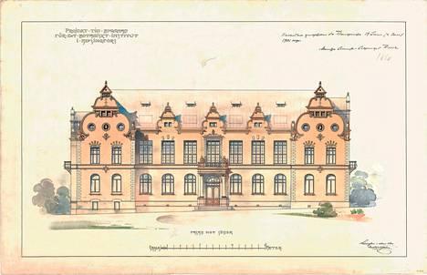 Yliopiston kasvitieteen laitoksen (nyk. Kasvimuseo) julkisivukuva vuodelta 1900. Suomen itsenäistymisen jälkeen rakennusta suunniteltiin Suomen kuninkaan residenssiksi.