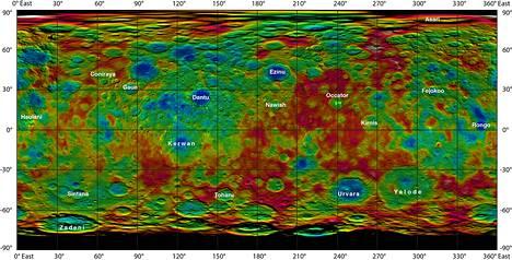 Kääpiöplaneetta Cereksen topografinen kartta on tässä avattuna kaksiulotteiseen tasoon. Kartta on yhdistelmä eri mittauksista.
