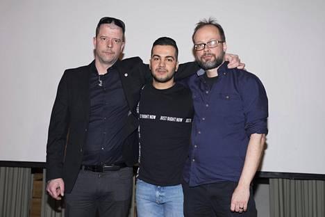 Seinäjoen arabikevät -dokumentissa esiintyvät Antti-Jussi Hirsimäki ja Shihab sekä ohjaaja Matti Reinikka.
