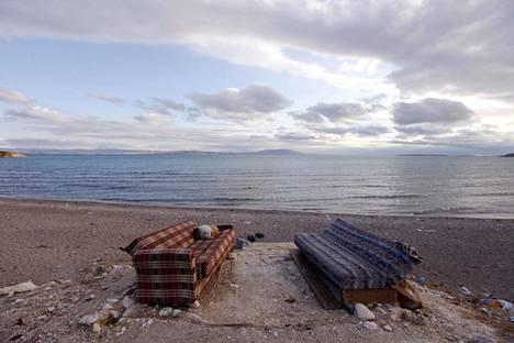 Koira nukkui sohvalla Vanjärven pohjoisrannalla Ercisin kaupungin lähellä vuonna 2011.