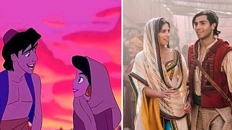 Tältä näyttävät Aladdin ja Jasmine vuoden 1992 Disney-piirretyssä sekä tuoreessa näytellyssä versiossa.