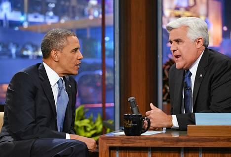 Yhdysvaltain presidentti Barack Obama Jay Lenon talk show -haastattelussa.