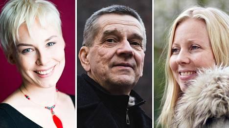 HS.fi:n suorissa lähetyksissä Helsingin kirjamessuilta esiintyvät muiden muassa Laura Lindstedt (vas.), Olli Jalonen ja Jessikka Aro.