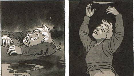 Tiitu Takalon sarjakuva-albumissa Memento mori masennus on kertojalle suohon uppoamista. Kirjan kuvitusta.