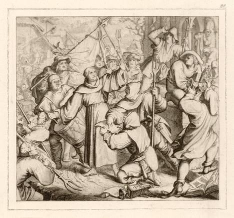 Martti Luther saarnaa talonpojille näiden kapinallisesta käytöksestä. Teos vuodelta 1525.