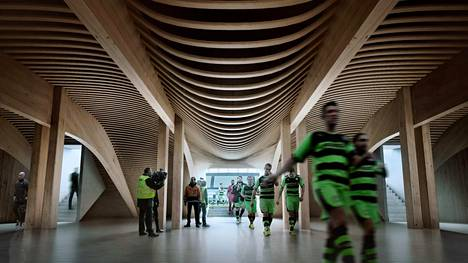Havainnekuva englantilaiselle viidennen sarjatason Forest Green Rovers -joukkueelle rakennettavasta jalkapallostadionista. Maineikkaan Zaha Hadidin arkkitehtitoimiston suunnittelema stadion aiotaan rakentaa kokonaan puusta Gloucestershiren Nailsworthiin.