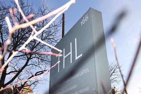 Terveyden ja hyvinvoinnin laitoksen kyltti Helsingin Mannerheimintiellä.