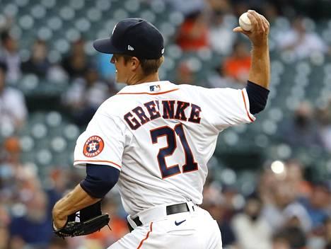 Houston Astrosin Zack Greinke syötti ennätyshitaan syötön Detroit Tigersia vastaan.