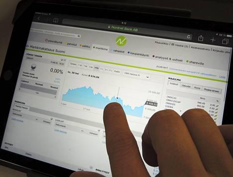 Mies tutkii markkinakatsausta Nordnetin verkkosivuilta.