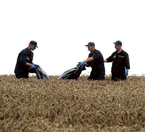 Ukrainalaiset pelastustyöntekijät nostivat pudotetun malesialaisen matkustajalentokoneen uhreja pellosta Donetskin itälaidalla.