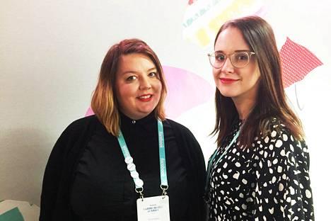 Facebook-ryhmä Ompeluseuran vetäjät Milla Halme (vas.) ja Jenna Karas osallistuivat Facebook Communities Summit -tapahtumaan Lontoossa.