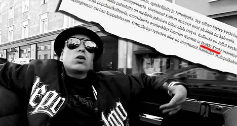 Kallion alue esiintyy Heikki Kuulan kappaleissa usein. Kuva Perhosveitsi-Heikki ja Lika-Aki -yhtyeen Aakkoset-musiikkivideosta, jossa ajellaan pitkin Kallion katuja.