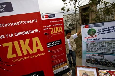 Perun pääkaupungissa Limassa jaettiin perjantaina tietoa zikaviruksesta ja muista hyttysten levittämistä taudeista.
