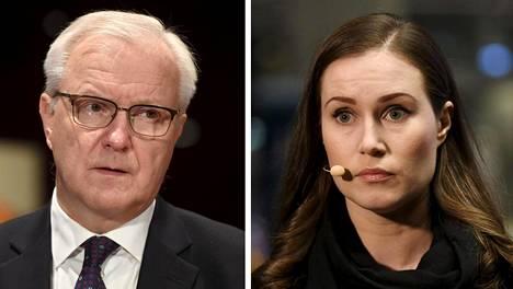 Suomen Pankin pääjohtaja Olli Rehn ja pääministeri Sanna Marin.