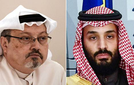Toimittaja Jamal Khashoggi (vas.) ja Saudi-Arabian kruununprinssi Mohammed bin Salman (oik.).