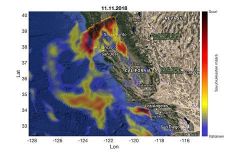 Kalifornian maastopalot näkyvät Euroopan avaruusjärjestön Esan Copernicus Sentinel 5p -satelliitin kuvissa. Aerosoli-indeksi kuvaa paloista tulevan savun eli pienhiukkasten määrää. Kuva on sunnuntailta.