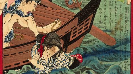 Varas työnsi naisen sillalta jokeen, Tokyo nichinichi shimbun no 431, 23.7. 1873. Taiteilija: Ikkeisai Yoshiiku.