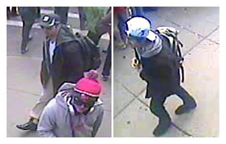 FBI:n julkaisema valokuva jossa Bostonin maratonin pommi-iskun epäillyt tekijät kuvattiin valvontakameralla hetkeä ennen räjähdystä 15. huhtikuuta 2013.