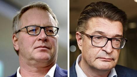 Paperiliiton puheenjohtaja Petri Vanhala (vas.) ja Ammattiliitto Pron puheenjohtaja Jorma Malinen.