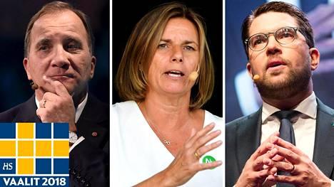 Ruotsin nykyinen pääministeri, sosiaalidemokraattien puheenjohtaja Stefan Löfven (vas.), ympäristöpuolueen puheenjohtaja Isabella Lövin ja ruotsidemokraattien puheenjohtaja Jimmie Åkesson.
