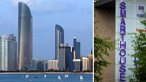 Vasemmalla Abu Dhabin pilvenpiirtäjiä, oikealla toimistorakennus Oulun Technopoliksesta.