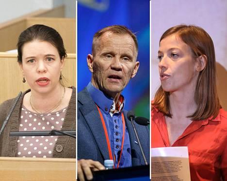 Vasemmistoliiton kansanedustaja Anna Kontula (vas.), ulkoasiainvaliokunnan puheenjohtaja Mika Niikko (ps) ja vasemmistoliiton puheenjohtaja Li Andersson.