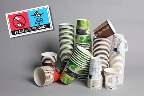 Pakkausvalmistaja Huhtamäen mukeihin painetaan kierrätysmerkintä, kun EU:n sup-direktiivi pannaan toimeen Suomessa.
