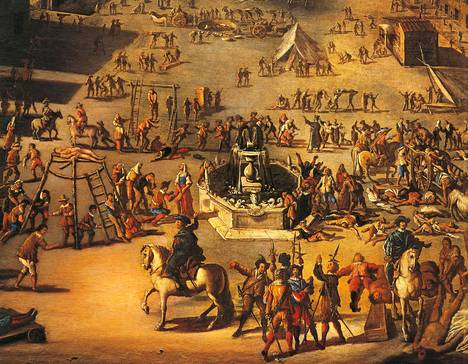 Carlo Coppolan aikalaismaalaus esittää napolilaista toria ruttoepidemian aikaan vuonna 1656.