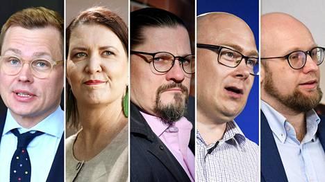 Puoluesihteerit Antton Rönnholm (sd), Riikka Pirkkalainen (kesk), Mikko Koikkalainen (vas), Simo Grönroos (ps) ja Veli Liikanen (vihr).