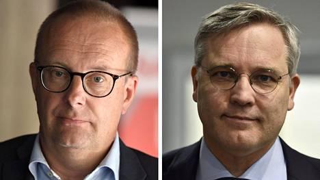 SAK:n puheenjohtaja Jarkko Eloranta ja Suomen yrittäjien toimitusjohtaja Mikael Pentikäinen.
