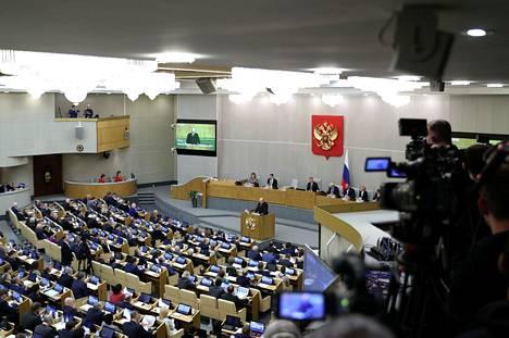 Kuva Venäjän duuman istunnosta 16. tammikuuta, jolloin uusi pääministeri Mihail Mišustin puhui kansanedustajille.