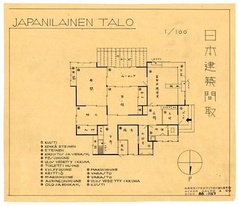 Japanilainen talo Alvar Aallon toimiston leimalla identifioitiin Alvar Aalto -säätiössä aikaisemmin suunnitelmaksi Tampellan tyyppitaloksi n. 1939-40.