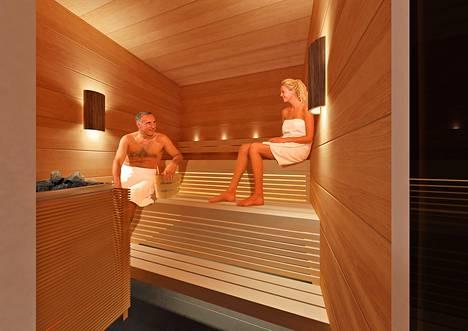 Finnairin Helsinki-Vantaa lentoasemalla sijaitseva Premium Lounge jossa voi sekasaunoa.