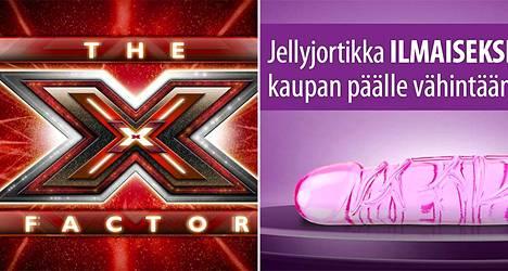 X Factor UK:n mainostauolla tuli jellyjortikkamainos.