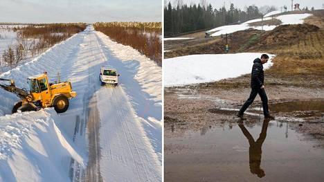 Pohjoisessa Suomessa Kittilässä lumivallit reunustivat maantietä viime talvena. Sen sijaan etelässä Kauniaisissa laskettelurinne kaipasi lunta.