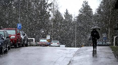 Etelässä saattaa vielä sataa räntää, kuten Espoon Suvelassa 23. huhtikuuta.