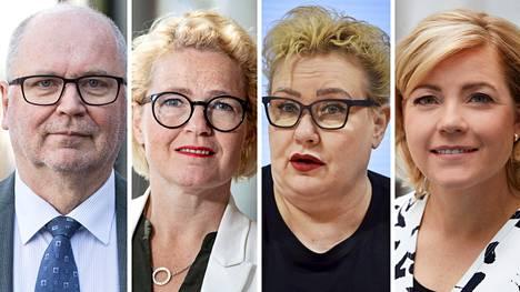 Mepit Eero Heinäluoma (sd), Miapetra Kumpula-Natri (sd), Sirpa Pietikäinen (kok) ja Henna Virkkunen (kok).