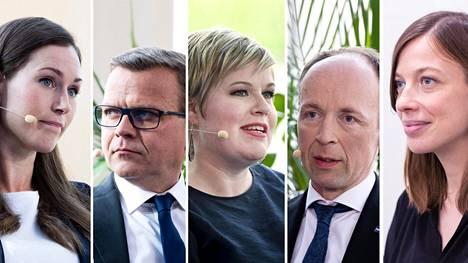 Sanna Marin (sd), Petteri Orpo (kok), Annika Saarikko (kesk), Jussi Halla-aho (ps) ja Li Andersson (vas).